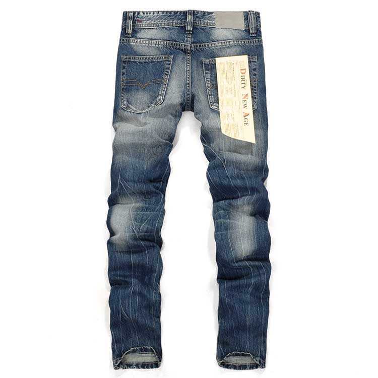 Brand Mens Jeans Straight Ripped Jeans For Men High Quality Button Fly Denim Bike Jeans Men Fashion Designer Pants,H964