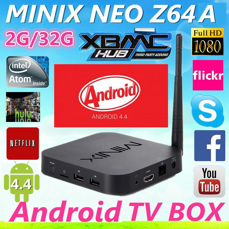 MINIX NEO Z64 Z64A Android TV Box Media Player Intel Atom Z3735F 64bit Quad Core CPU 2G/32G XBMC KODI Player 1080P Smart MINI PC