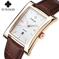 Top Brand WWOOR Men Watch Square Quartz Watch Waterproof Ultra thin Man Business Leather Wrist Watches