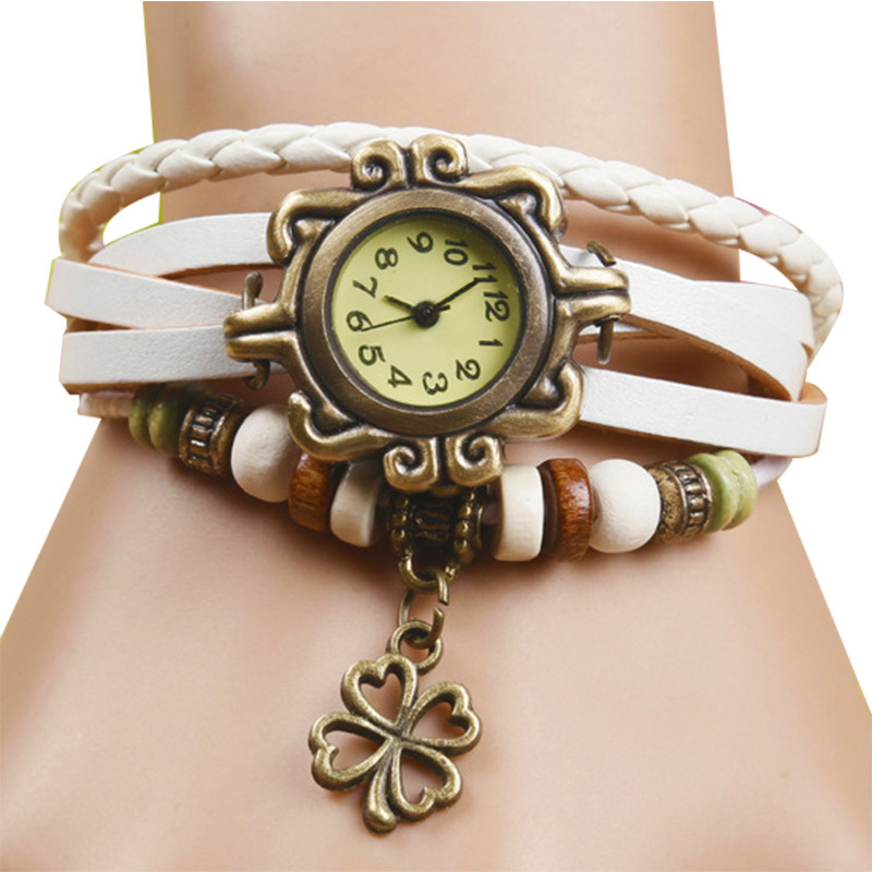 Fashion Clover Pendants relojes mujer 2015 Quartz Watch Women Watches Casual Wristwatch Leather Cartoon relogio feminino gift(China (Mainland))