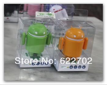Promotion! 10pcs/lot USB Mini Portable Google Android Robot Speaker for Latop Tablet PC