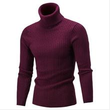 Thefound 남자 겨울 니트 셔츠 높은 롤 거북이 목 남성 풀오버 스웨터 점퍼 탑스 긴 소매 솔리드 남자 니트 셔츠(China)