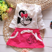 Retail Hot Minnie Mouse Cotton baby girl dress Long Sleeve Casual Dresses 1 Year Birthday Wedding Dress Baby Clothes Clothing(China (Mainland))