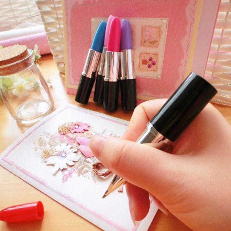 Гаджет  Lipstick Ballpoint Pens CuteTelescopic Ballpen Stationery Office Accessories School Supplies Color Random 2pcs/pack OSS-0192 None Офисные и Школьные принадлежности