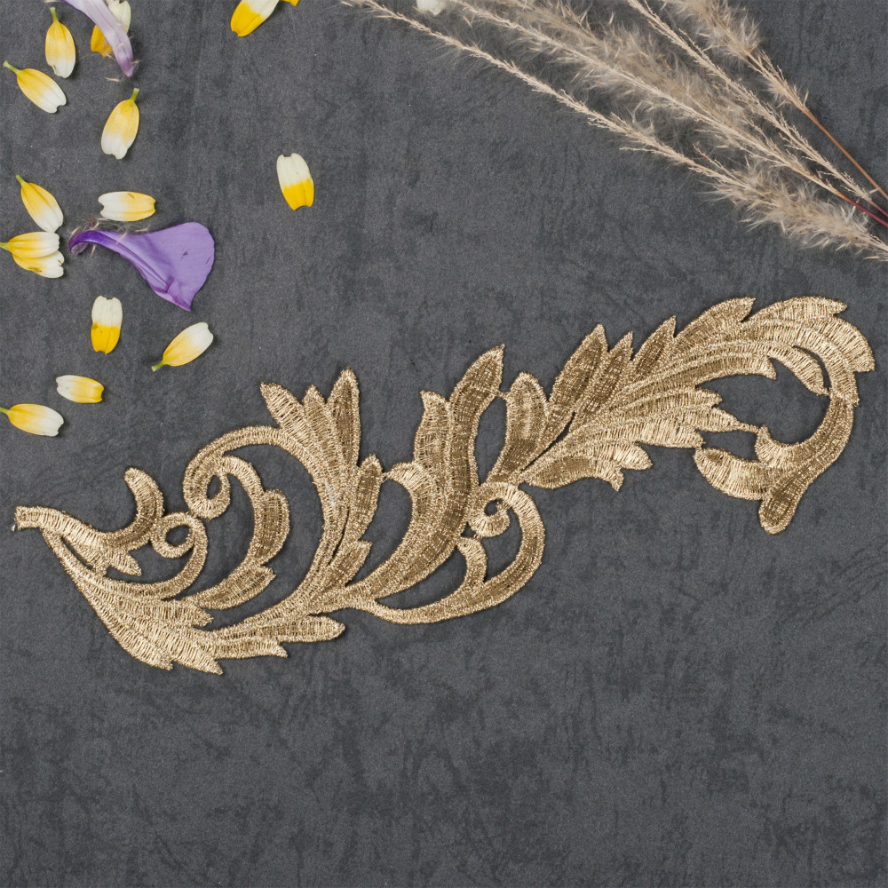 Lp ja embroidery flowers patches gold lace applique