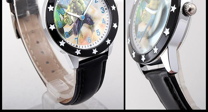 Disney бренда детский Кварцевые часы 30 м водонепроницаемый Мальчик Капитан Америка Халк железный Человек дети часы мужчины часы