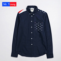 Mr Yong 2016 New American National Flag Long Sleeve Men Cotton Shirts Fashion Trend Stars Printed