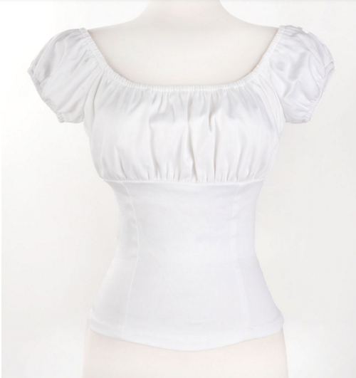 Shopping Online American Vintage Woman Blouse Summer Sexy Low Back White Retro Peasant Tops Cotton(China (Mainland))