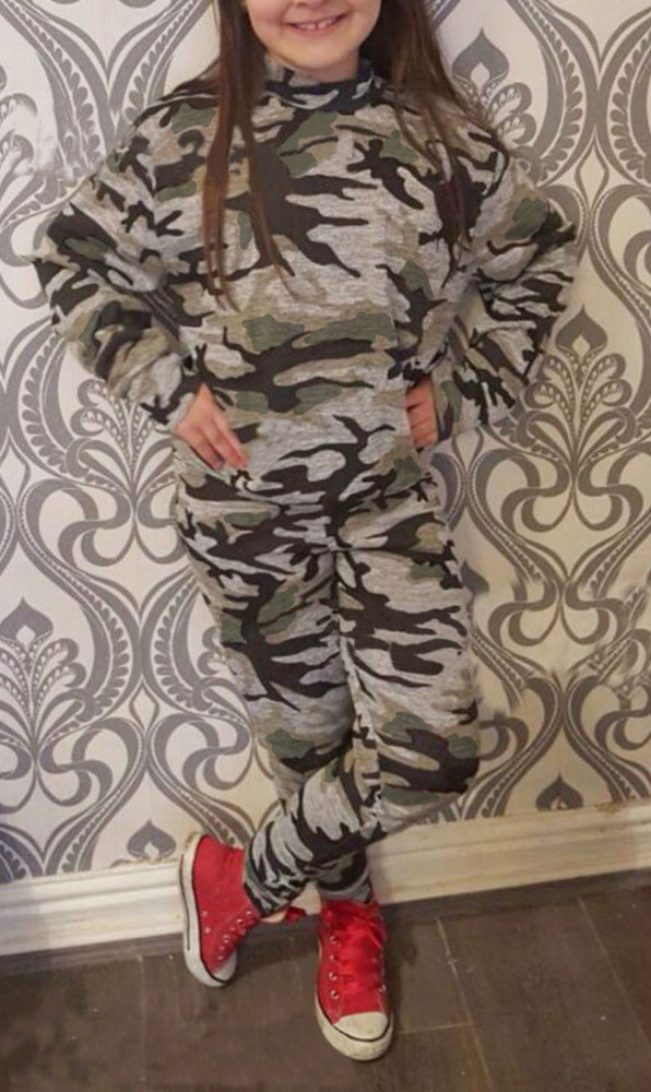 Fashion Toddler Kids Girls Boys Camouflage Blouse Cotton T-Shirt Long Top + Camouflage Trousers Pants Outfit Clothes