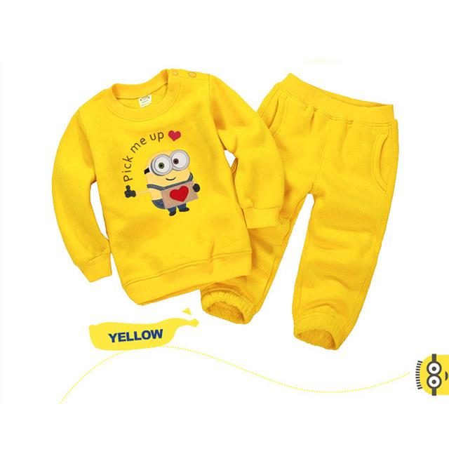 Новые детские комплект одежды осень зима миньонов мальчики девочки толстовки + свободного ...