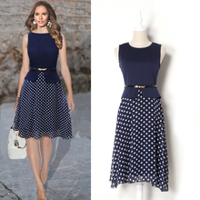 2015 Hot Sale Women Short Dress with 3/4 Sleeve Geometric Pattern Print Vintage Loose Flowy Mini Dress New Arrivals Summer(China (Mainland))