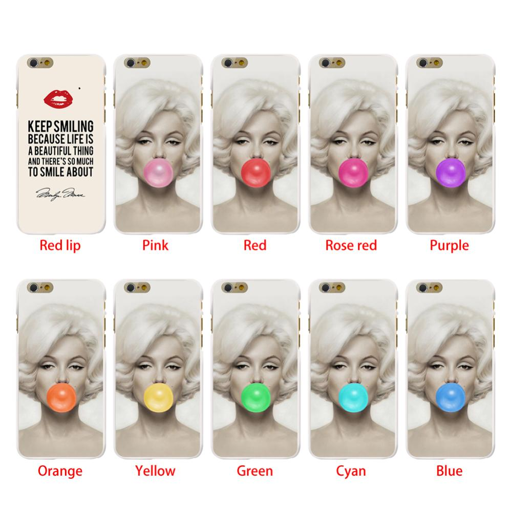 "White Grounding pattern Sexy Marilyn Monroe Bubble Gum Red Lips Style Design Case cover For Iphone 6 6G 4.7"" New Arrival!!!(China (Mainland))"