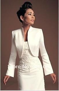 Ivory Satin Bolero Winter Bridal Jacket/Coat Bridal Wraps Full Sleeves Ladies Shrug Other Colors Available