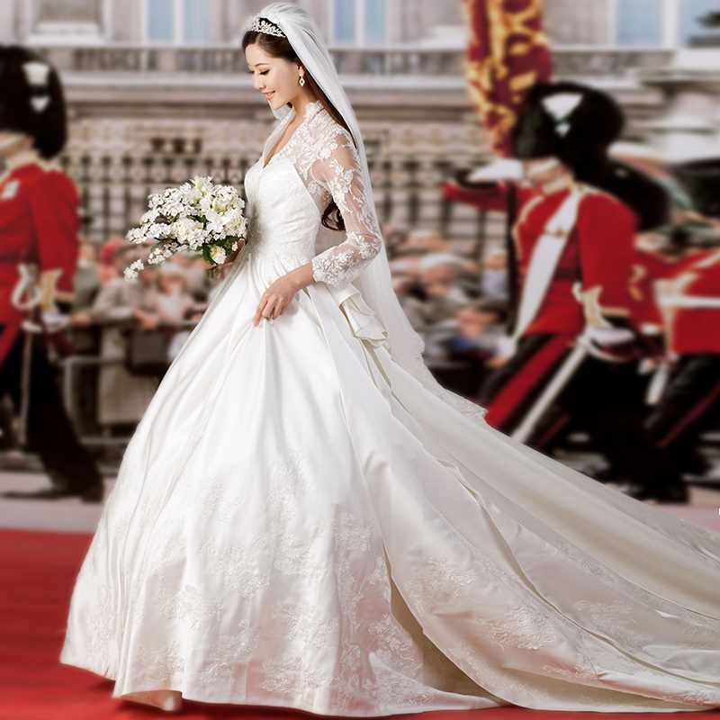 2015 princess wedding dress luxurious alencon lace very for Wedding dress princess kate