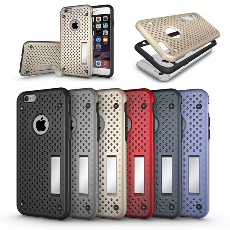 TPU&PC Heat Radiation Dual Armor Build-In Stand Ultra Thin Net Design Mesh Case for Apple IPHONE 6 Plus 6s Plus Capa Fundas(China (Mainland))