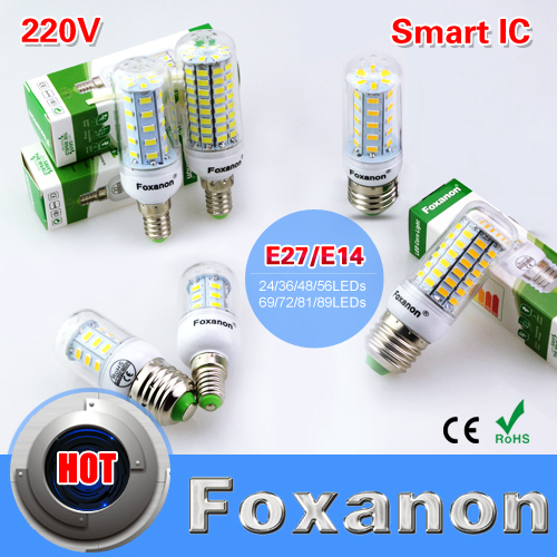Foxanon E27 E14 220V Led Light Smart IC Power 5730 Corn Bulb lampadas 36 48 56 69 72 81 89Leds lampada led Lamp Candle Lighting(China (Mainland))
