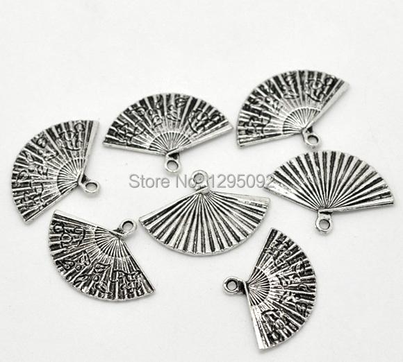 Здесь можно купить  1250 Free Shipping Wholesales Hot New DIY Silver Tone Carved Fan Charms Pendants Jewelry Component Findings 24x17mm  Ювелирные изделия и часы