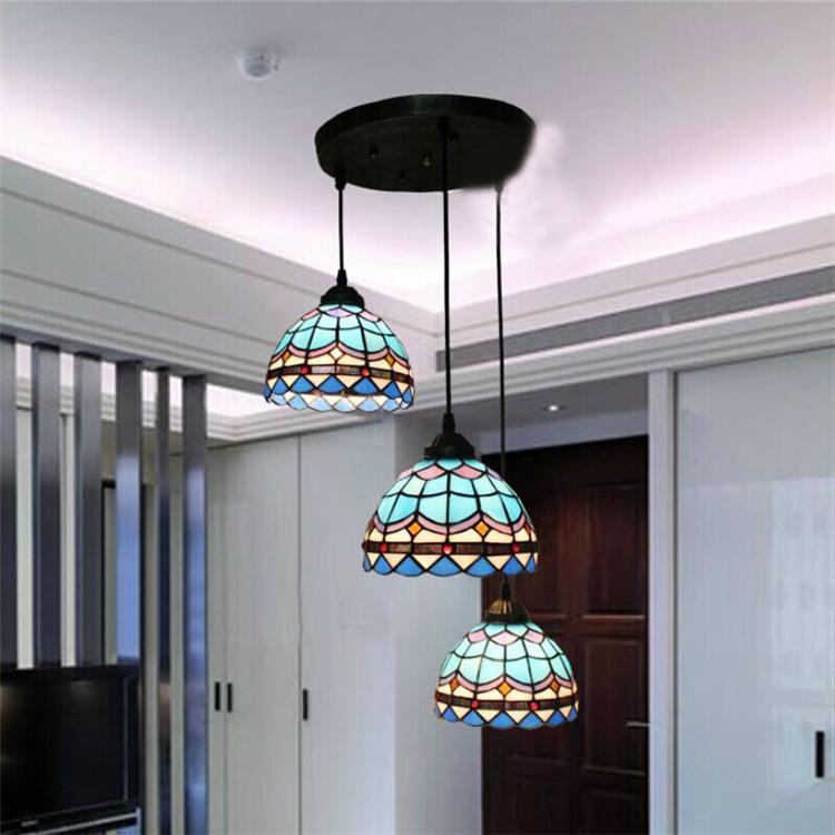 European Vintage Wrought Iron Glass Pendant Light American Minimalist Bar Tiffany Lamp Living Room Pendant Light <br><br>Aliexpress