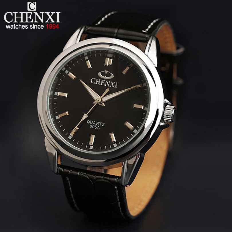 Men's Classic Business Leather Strap Watch High Quality Japanese Quartz Movement Watches Black & White Dial Leather Wrist Watch(China (Mainland))