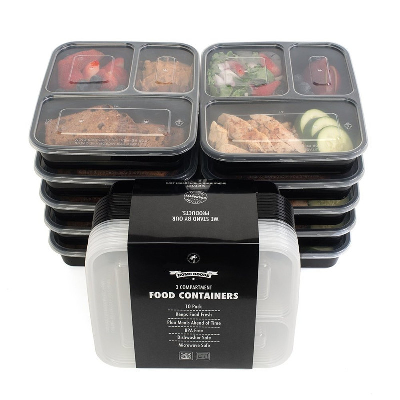 3 compartment food storage containers with lids bento box lunch box picnic. Black Bedroom Furniture Sets. Home Design Ideas