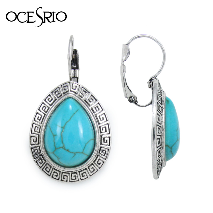 India Jewelry Silver Turquoise Earrings with imitation gemstone ethic blue drop earrings red grenn big brincos vintage ers-h04(China (Mainland))