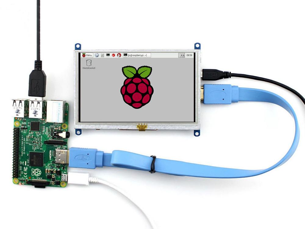 Купить 800*480 5 дюймов LCD с Сенсорным Экраном HDMI Дисплей Модуль TFT ЖК-ДИСПЛЕЙ Для Raspberry Pi BB Черный Банан Пи/Банан Pro