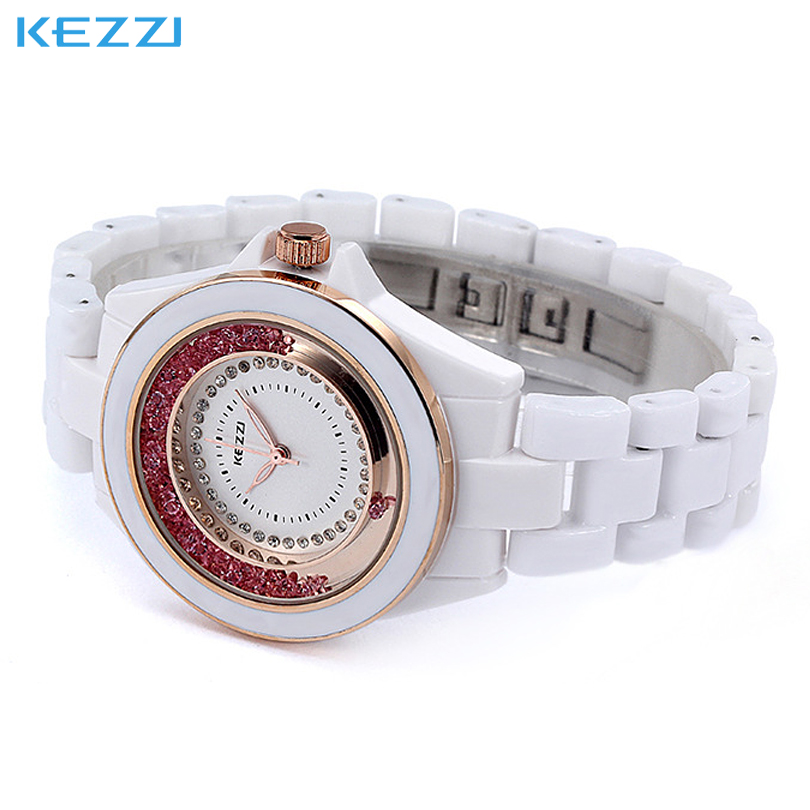 Fashion Brand KEZZI Womens Dress Watch Ladies Girls Student Quartz Watches Move Quicksand Diamonds Dial Ceramics Clock female<br><br>Aliexpress