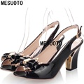 MESUOTO Sweet Bowtie Air Open Toe Patent Leather Slip On Square Heel Womens Sandal Summer Style
