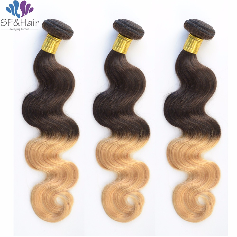 DHL Free Honey Blonde Bundles #1B/27 Ombre Human Hair Extensions 3 Bundle Deals Cheap Peruvian Virgin Hair Body Wave Bundles