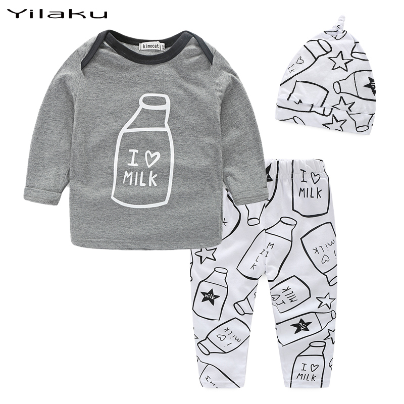 Fashion Baby Boy Girl Clothes Set 2016 Spring Children Clothing Suits for Newborn Baby Outfits (T-shirt+Pants+Hat) CF371(China (Mainland))