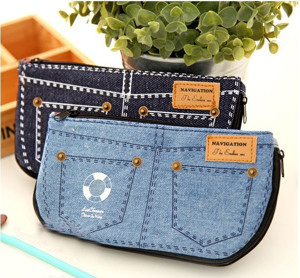 PY045 women cosmetic bags makeup cases organizer Multipurpose Denim purse pen pencil pack Accessories Supplies Products(China (Mainland))