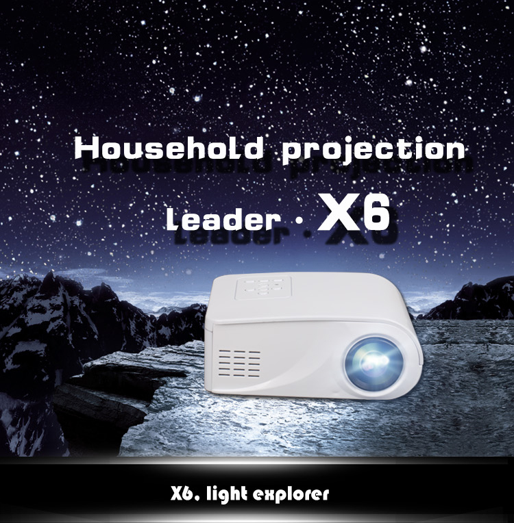 Updated X6 Portable Mini Projector HD Compatible For phone For Home Digital projector Wholesale 500 lumens HDMi(China (Mainland))
