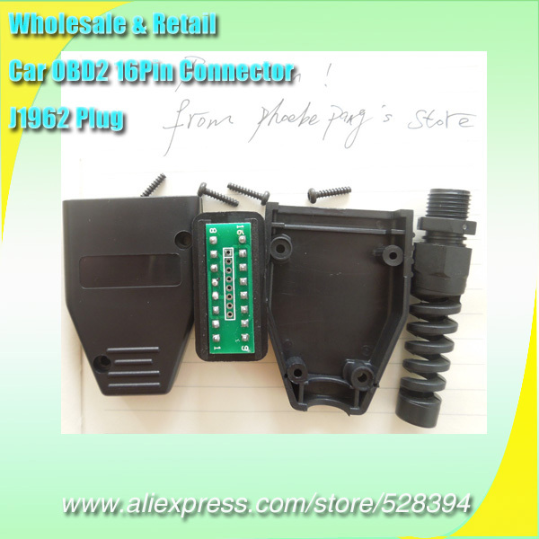 Wholesale 15pcs HKPAM Global Free Shipping OBD 2 16Pin Connector OBDii 16 pin Adaptor OBD II Plug J1962 OBD2 Male Connector(China (Mainland))