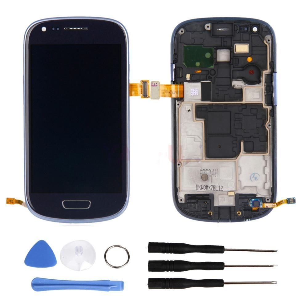 4.0 inch lcd with digitizer assembly for samsung s3 mini lcd Display with Touch screen +Frame+Home button+Free Tools Blue color