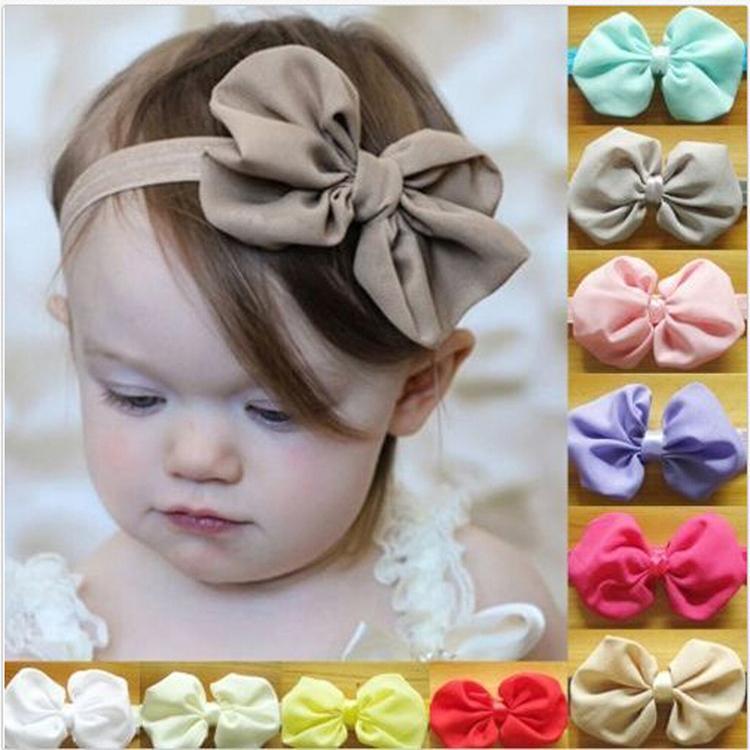 New High Quality 1pc 14 Colors Chiffon Bowknot Baby Headbands Solid Color Baby Girl Elastic Hair Bands Drop shipping(China (Mainland))