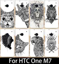 Черный и белый животные крашеные чехол для HTC One м7 мобильный телефон чехол крышка чехол для HTC M7 801e одноместный Sim жесткий пк чехол