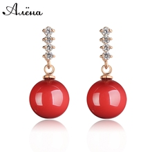 Free Shipping Natural Red Coral Earrings Brincos Jewerly Gold 18k Earring Rhinestone Big Drop Earrings Ruby Earrings For Women(China (Mainland))