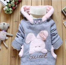 Children Clothing Cartoon Rabbit Fleece Bunny Outerwear Girls Cute Clothes Hoodies Baby Kids Jacket Winter Coat roupa infantil(China (Mainland))