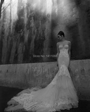 Hot Sexy New Strapless Wedding Dresses Winter White Lace Beads Mermaid Wedding gown(China (Mainland))