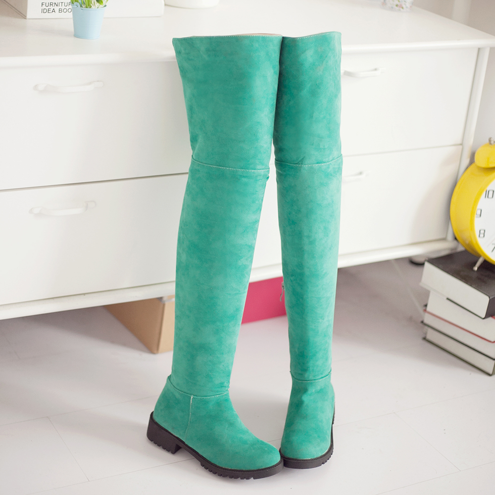 Winter Warm Women Knee High Boots Soft Leather Fashion slip-on New Female Thick Heel Tall Boots Shoes black green red khaki<br><br>Aliexpress