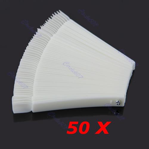 Hot Sell 50x Fan-shaped Natural False Nail Art Tips Sticks Polish Display Free Shipping(China (Mainland))