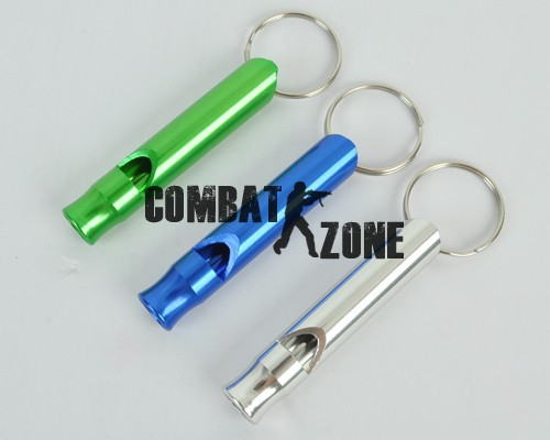 5pcs/lot 4 Color Outdoor Military Airsoft Fighting Hiking Aluminium Emergency Whistle Key Chain Camping Survival Blue(China (Mainland))