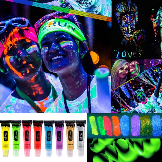 IMAGIC Halloween professional painting Beauty Makeup Neon UV Bright Face & Body Paint Fluorescent Rave Festival Painting(China (Mainland))
