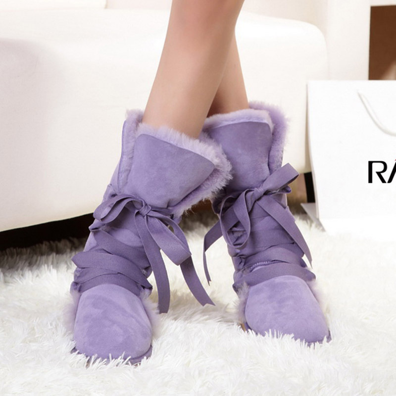 2015 Fashion girls lace snow boots women bootlace real sheepskin leather nature wool fur winter shoes flats - Belles High Quality! store