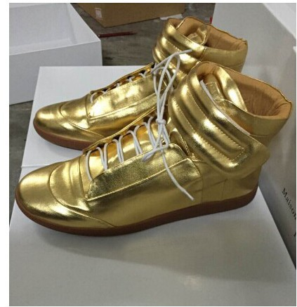 Gold Silver maison martin margiela sneakersfashion Men's Sneaker genuine Leather Sneakers men's casual shoes - Is still cool store