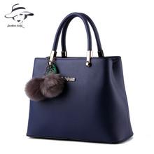 2016 classic women famous brand bags luxury solid colorful womans handbag leather handbags Plush pendant messenger bags bolsos