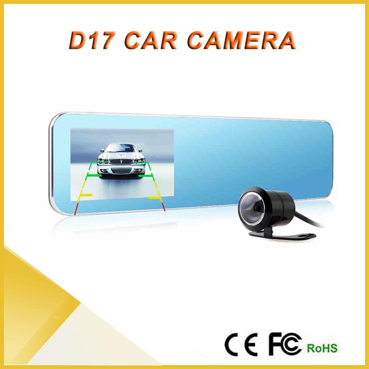 Free Shipping HD 4.3'' Dual Lens Video Recorder Dash Cam Rearview Mirror Car Camera DVR Rear View Camera D17 1080p car video(China (Mainland))