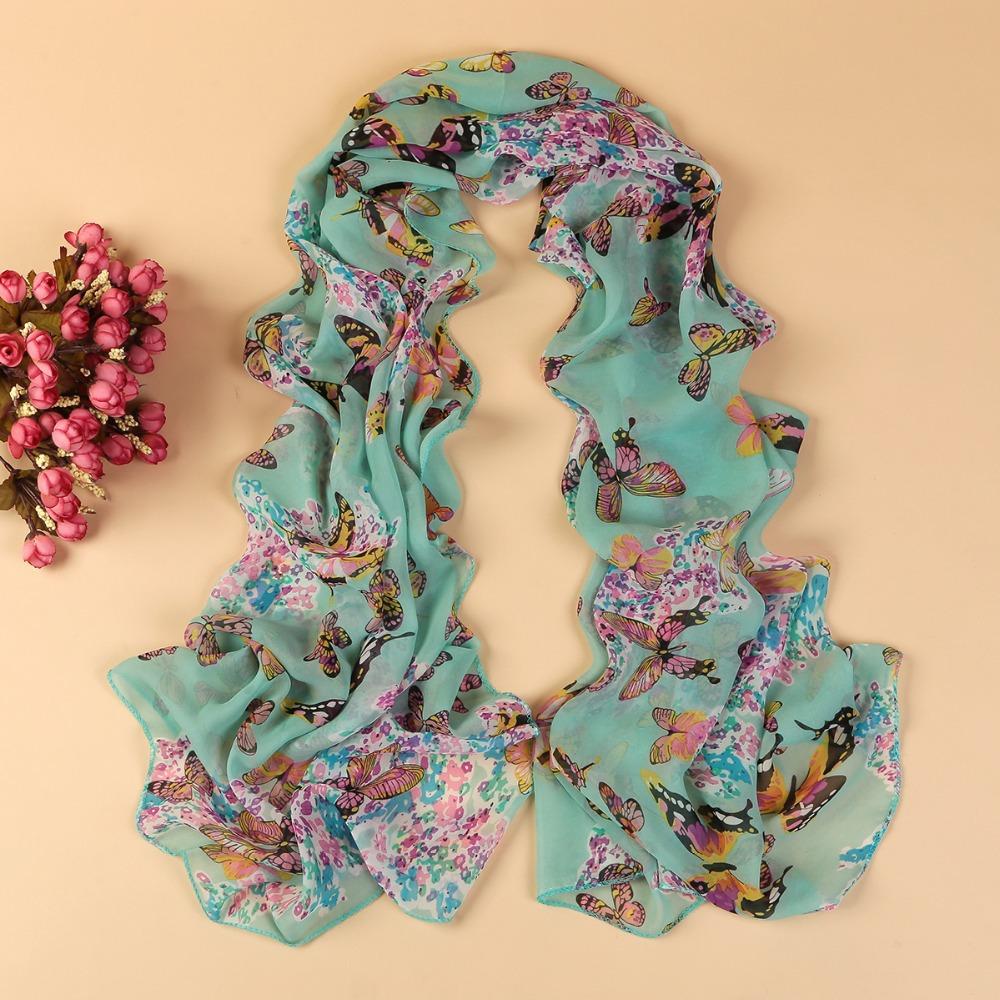 new fashion style butterfly Scarves women's scarf long shawl spring silk pashmina chiffon infinity scarf YN-168(China (Mainland))