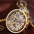Vintage Watch Necklace Steampunk Skeleton Mechanical Fob Pocket Watch Clock Pendant Hand winding Men Women Chain