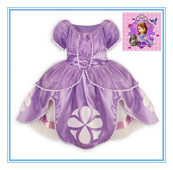 2014 Sofia girls dress princess dress children's wear purple party dress children clothes kids clothes costume party(China (Mainland))